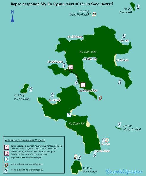 Карта Му Ко Сурина