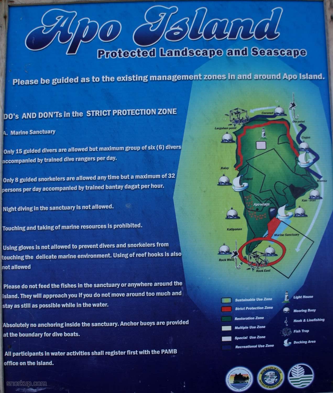 Карта Apo Island. Белыми стрелками обозначены течения вокруг острова.